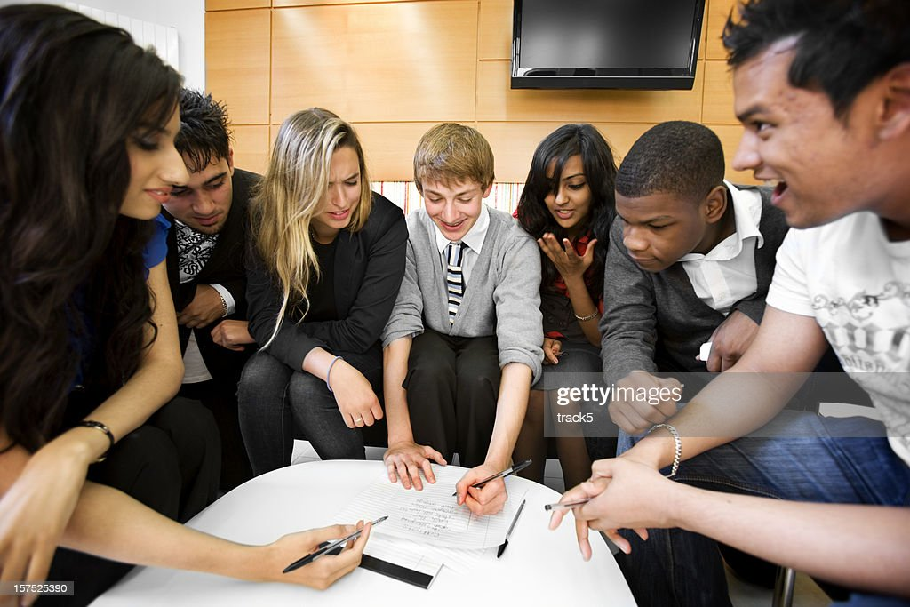 further education: project work for a group of diverse students : Stock Photo