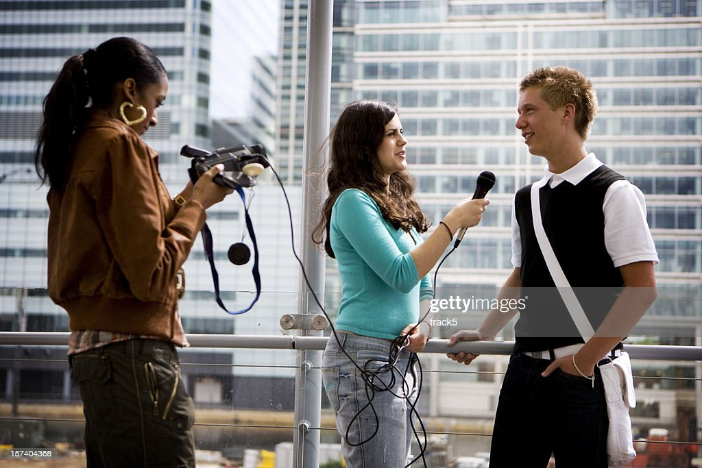 further education: teenage students gaining media and interview experience : Stock Photo