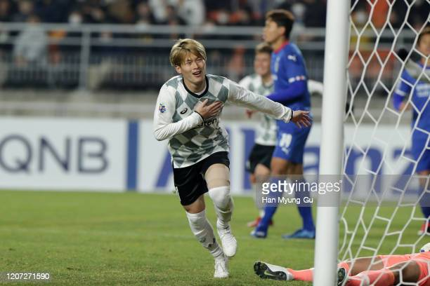 Furuhashi Kyogo of Vissel Kobe celebrates after scoring the first goal during the AFC Champions League Group G match between Suwon Samsung Bluewings...