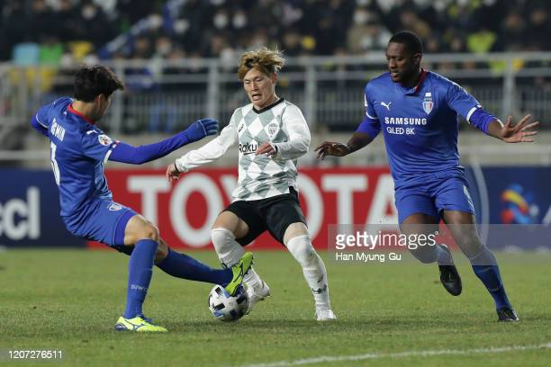 Furuhashi Kyogo of Vissel Kobe in action during the AFC Champions League Group G match between Suwon Samsung Bluewings and Vissel Kobe at the Suwon...