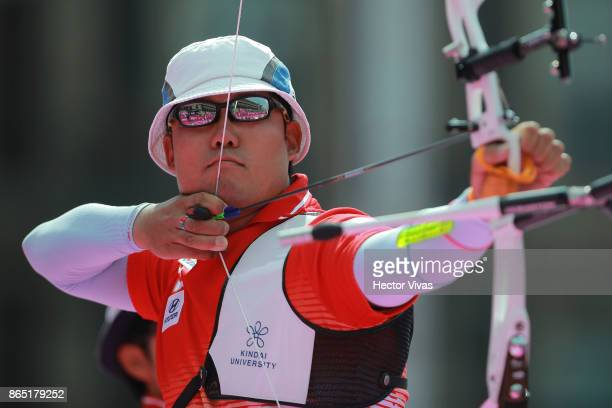 Furukawa Takaharu of Japan lines up an arrow during the Bronze Recurve Mixed Team Competition as part of the Mexico City 2017 World Archery...
