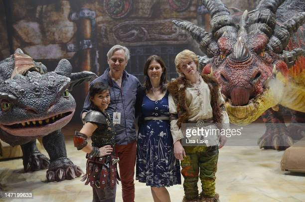 """Fury dragon """"Toothless"""", Gemma Nguyen as """"Astrid"""" Director Nigel Jamieson, Global Creatures CEO Carmen Pavlovic, Riley Miner as """"Hiccup"""" and monstous..."""