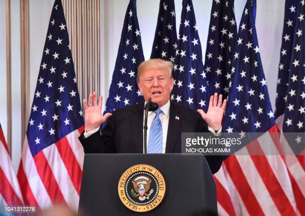 US President Donald Trump speaks during a press conference on September 26 on the sidelines of the United Nations General Assembly in New York