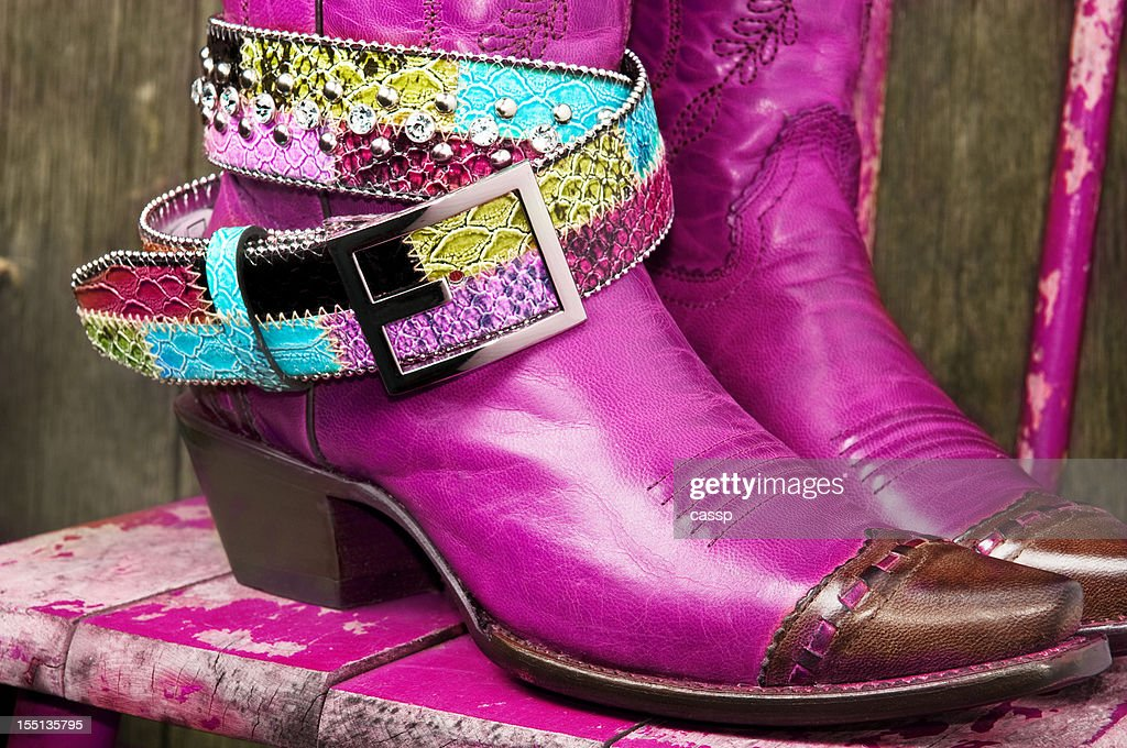Fuschia Cowboy Boots with rhinestone belt : Stock Photo