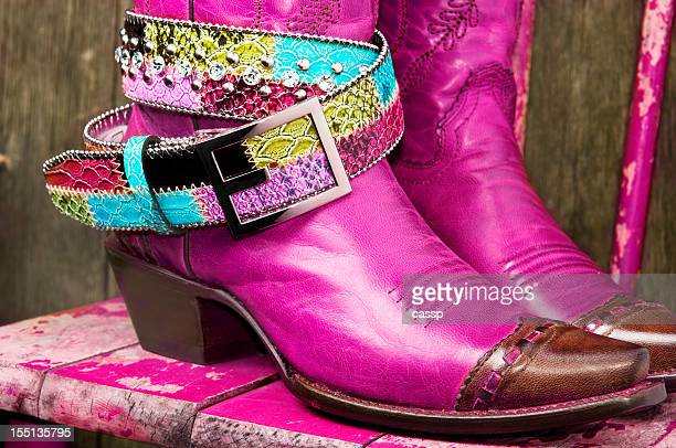 Fuschia Cowboy Boots with rhinestone belt
