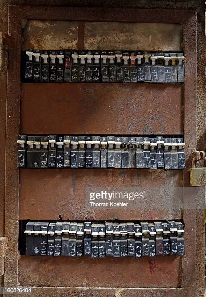 A fuse box in the Palestinian Refugee Camp Burj Barajneh the likes of which causes many fatal electrocution accidents and is an example of how the...