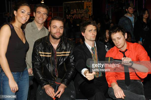 Fuse VJs Marianela and Dylan with Chris Wolstenholme, Matthew Bellamy and Dominic Howard of Muse