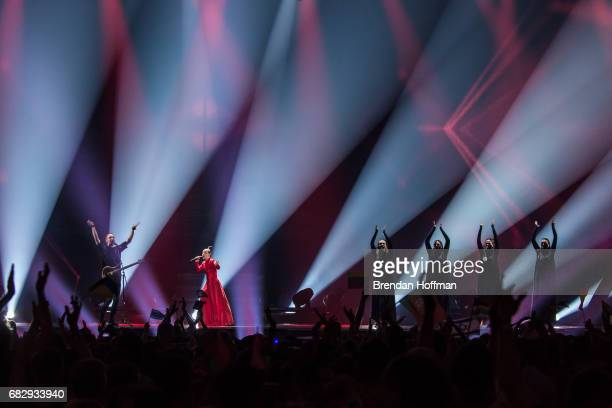 Fusedmarc comprised of Cilia on vocals and Vakx on guitar the contestant from Lithuania performs during the second Eurovision semifinal on May 11...
