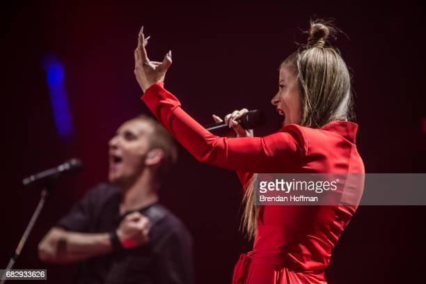 Fusedmarc comprised of Vakx on guitar and Cilia on vocals the contestant from Lithuania performs during a rehearsal for the Eurovision semifinal on...
