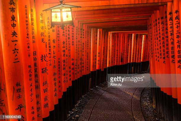 fushimi inari torii gates - azrin az stock pictures, royalty-free photos & images