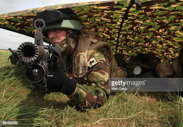 Fusilier Jake Egan from the 1st Battalion The Royal Welsh takes part in a predeployment training exercise on Salisbury Plain on July 22 in Wiltshire...