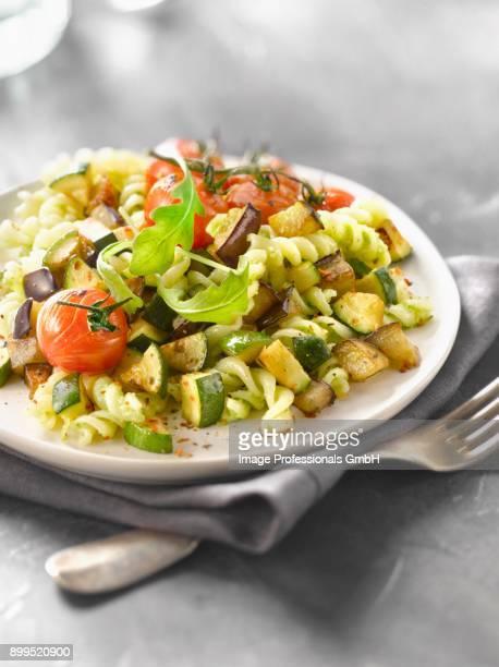 fusilli with vegetables and rocket pesto - ピストー ストックフォトと画像
