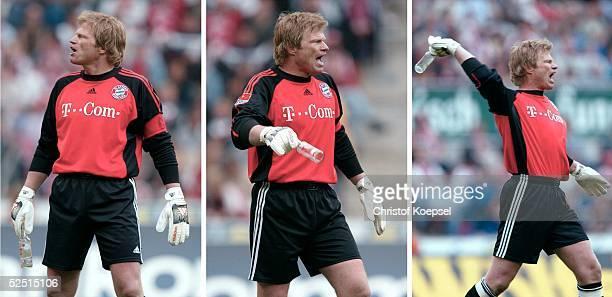Fussball 1 Bundesliga 03/04 Koeln 1 FC Koeln FC Bayern Muenchen 12 Torwart Oliver KAHN / Bayern legt sichg erst mit den Fans nach dem Flaschenwurf an...