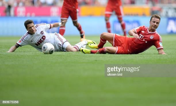 Fussball 1 Bundesliga Saison 2013/2014 3 Spieltag FC Bayern Muenchen 1 FC Nuernberg Mario Goetze gegen Daniel Ginczek