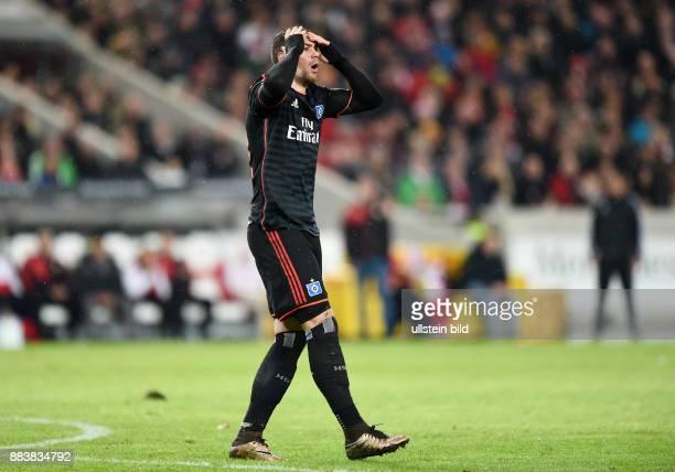 Fussball 1 Bundesliga Saison 2015/2016 19 Spieltag VfB Stuttgart Hamburger SV Enttaeuschung Hamburger SV PierreMichel Lasogga
