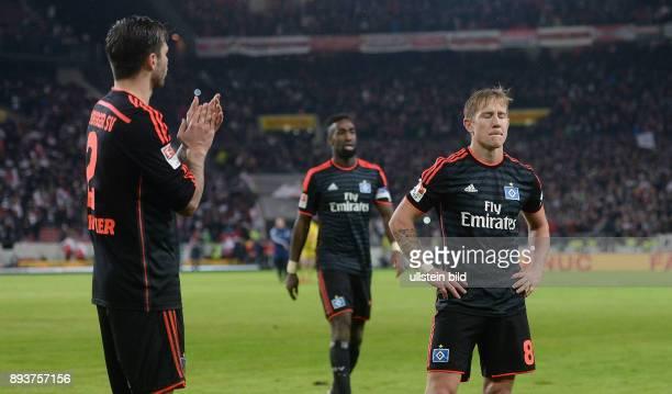 Fussball 1 Bundesliga Saison 2015/2016 19 Spieltag VfB Stuttgart Hamburger SV Enttaeuschung Hamburger SV Lewis Holtby und Dennis Diekmeier nach den...