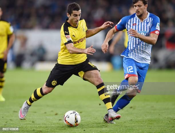 Fussball 1 Bundesliga Saison 2015/2016 6 Spieltag in Sinzheim Hoffenheim Borussia Dortmund Henrikh Mkhitaryan gegen Tobias Strobl