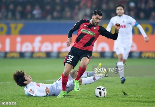 Fussball 1 Bundesliga Saison 2016/2017 20 Spieltag SC Freiburg 1 FC Koeln Vincenzo Grifo gegen Yuya Osako