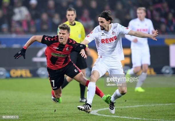 Fussball 1 Bundesliga Saison 2016/2017 20 Spieltag SC Freiburg 1 FC Koeln Neven Subotic gegen Florian Niederlechner