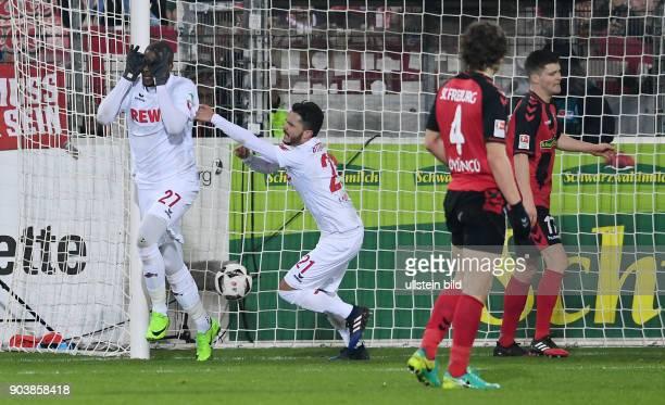 Fussball 1 Bundesliga Saison 2016/2017 20 Spieltag SC Freiburg 1 FC Koeln Koeln Torschuetz zum 11 Ausgleich Anthony Modeste mit Leonardo Bittencourt...