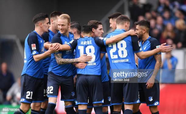 Fussball 1 Bundesliga Saison 2016/2017 23 Spieltag in Sinzheim Hoffenheim FC Ingolstadt JUBEL TSG 1899 Hoffenheim Benjamin Huebner Kevin Vogt Nadiem...