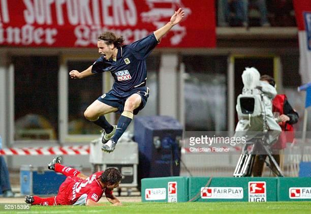 Fussball: 2. Bundesliga 04/05, Erfurt; Rot Weiss Erfurt - 1860 Muenchen; Von einer Kamera aufgenommene Spielszene beim ersten Fernsehspiel in Erfurt:...