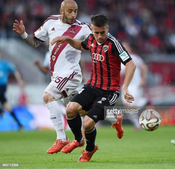 Fussball 2 Bundesliga Saison 2014/2015 31 Spieltag FC Ingolstadt 1 FC Nuernberg Stefan Lex gegen Javier Pinola