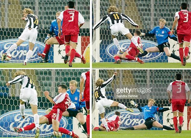 Fussball Champions League 04/05 Turin Juventus Turin FC Bayern Muenchen 10 Tor zum 10 durch Pavel NEDVED / Juventus gegen Torwart Oliver KAHN und...