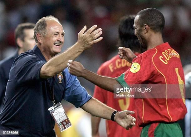 Schlussjubel Trainer Luiz Felipe SCOLARI, COSTINHA / beide POR 30.06.04.