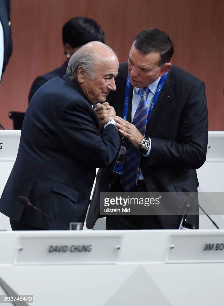 Fussball International 65 FIFA Kongress in Zuerich Praesident Joseph S Blatter und FIFA Vizepraesident Juan Angel Napout