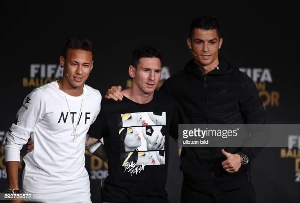 Fussball International FIFA Ballon d Or 2015 in Zuerich Pressekonferenz Weltfussballer 2015 nominierte Spieler Neymar Lionel Messi und Cristiano...