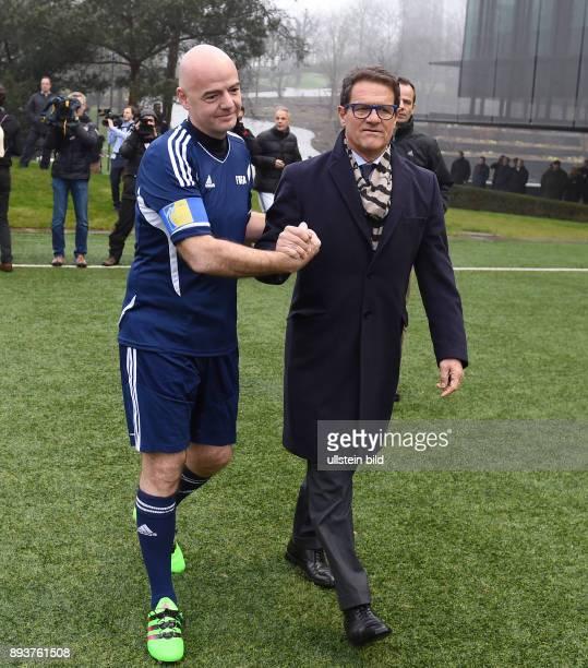 Fussball International Praesident Gianni Infantino am Ball erster Tag im Home of Fifa Freundschaftsspiel FIFA Mitarbeiter und Ex Fussballer Shake...