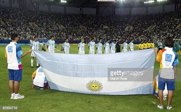 Fussball / Maenner Olympische Spiele Athen 2004 Athen Gruppe C / Argentinien Australien 10 Team ARG 170804
