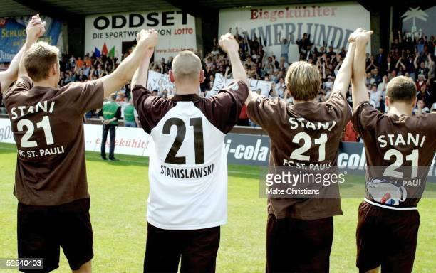 Fussball Regionalliga Nord 03/04 Hamburg FC St Pauli KFC Uerdingen Holger STANISLAWSKI verabschiedet sich von St Pauli 300504