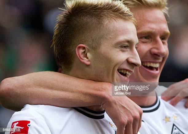 Fussball, Saison 2011-2012, 1. Bundesliga, 31. Spieltag, Borussia Mönchengladbach - 1. FC Köln 3-0, Bild Nr. 12095-10 Jubel Marco Reus