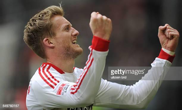 Fussball, Saison 2012-2013, 1. Bundesliga, 27. Spieltag, Fortuna Düsseldorf - Bayer 04 Leverkusen 1-4, Jubel Andre Schürrle