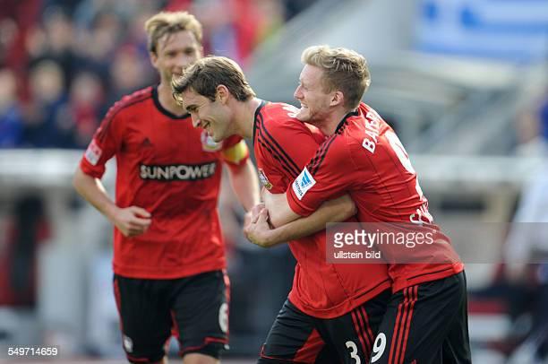 Fussball, Saison 2012-2013, 1. Bundesliga, 30. Spieltag, Bayer 04 Leverkusen - 1899 Hoffenheim 5-0, Jubel Stefan Reinartz , li., und Stefan Kießling...