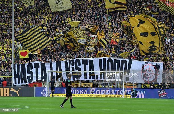 Fussball Saison 20122013 1 Bundesliga 34 Spieltag Borussia Dortmund 1899 Hoffenheim Anti Dietmar Hopp Transparent der Dortmunder Fans in der Südkurve