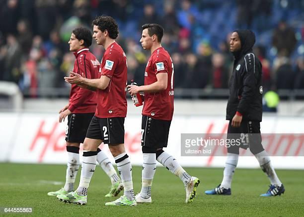 Fussball, Saison 2014/15, 1. Bundesliga, 26. Spieltag,Hannover 96 - Borussia Dortmund 2:3v.li., Miiko Albornoz , Leon Andreasen , Edgar Prib , Jimmy...