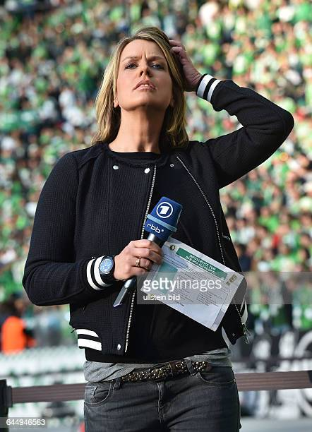 Fussball, Saison 2014/15, DFB-Pokal, Finale in Berlin,Borussia Dortmund - VfL Wolfsburg 1:3ARD Sportschau Moderatorin Jessy Wellmer