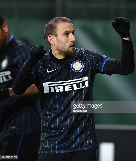 Fussball Saison 2014/15 Europa League Achtelfinale Hinspiel VfL Wolfsburg Inter Mailand 31Jubel Rodrigo Palacio