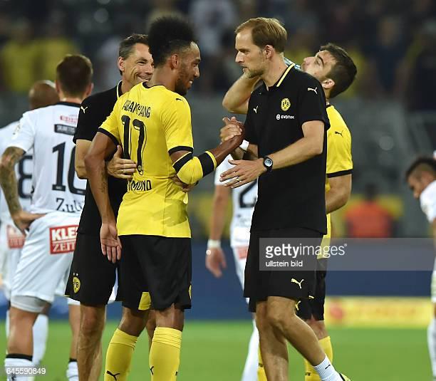 Fussball Saison 2015/2016 Europa League Qualifikation 3 RundeBorussia Dortmund Wolfsberger AC 50Trainer Thomas Tuchel re und PierreEmerick Aubameyang...