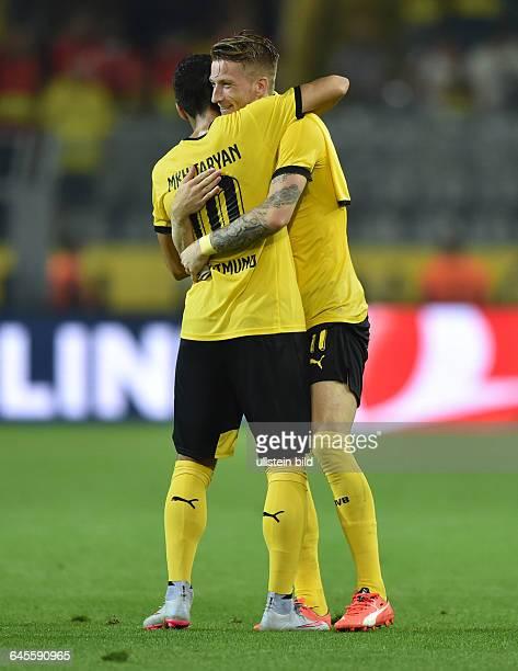 Fussball Saison 2015/2016 Europa League Qualifikation 3 RundeBorussia Dortmund Wolfsberger AC 50Jubel Marco Reus re und Henrikh Mkhitaryan