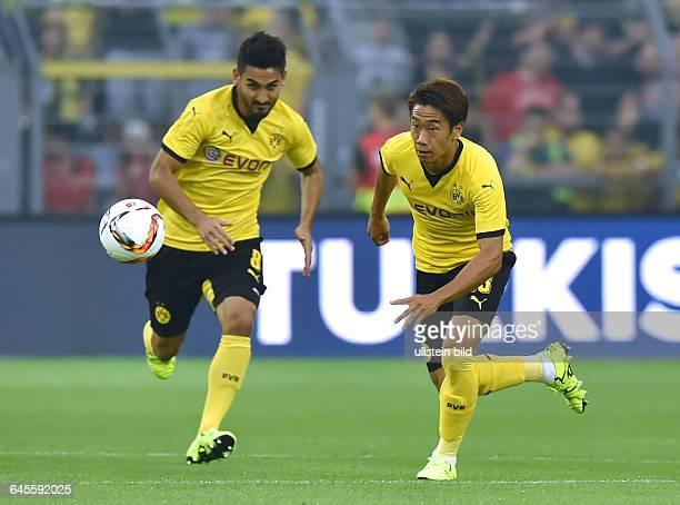 Fussball Saison 2015/2016 Europa League Qualifikation 3 RundeBorussia Dortmund Wolfsberger AC 50Shinji Kagawa re und Ilkay Guendogan Ilkay Gündogan
