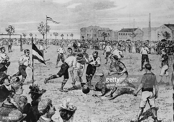 Fussballwettspiel auf dem Exerzierplatz 'Einsame Pappel' in Berlin Dresdener Fussballklub gegen den 1 Berliner FussballClub Frankfurt 84 1890