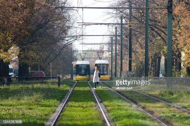 Fussgängerin überquert STrassenbahngleise Strassenbahnverkehr auf der Wisbyer Strasse in Berlin