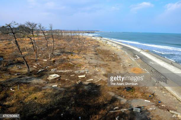 Futaba beach which attracted 85000 visitors in 2010 remains as it was when the Magnitude 90 earthquake and subsequent tsunami hit on February 25 2014...