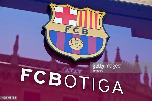 futbol club barcelona's official shop and insignia. - barcelona stock pictures, royalty-free photos & images
