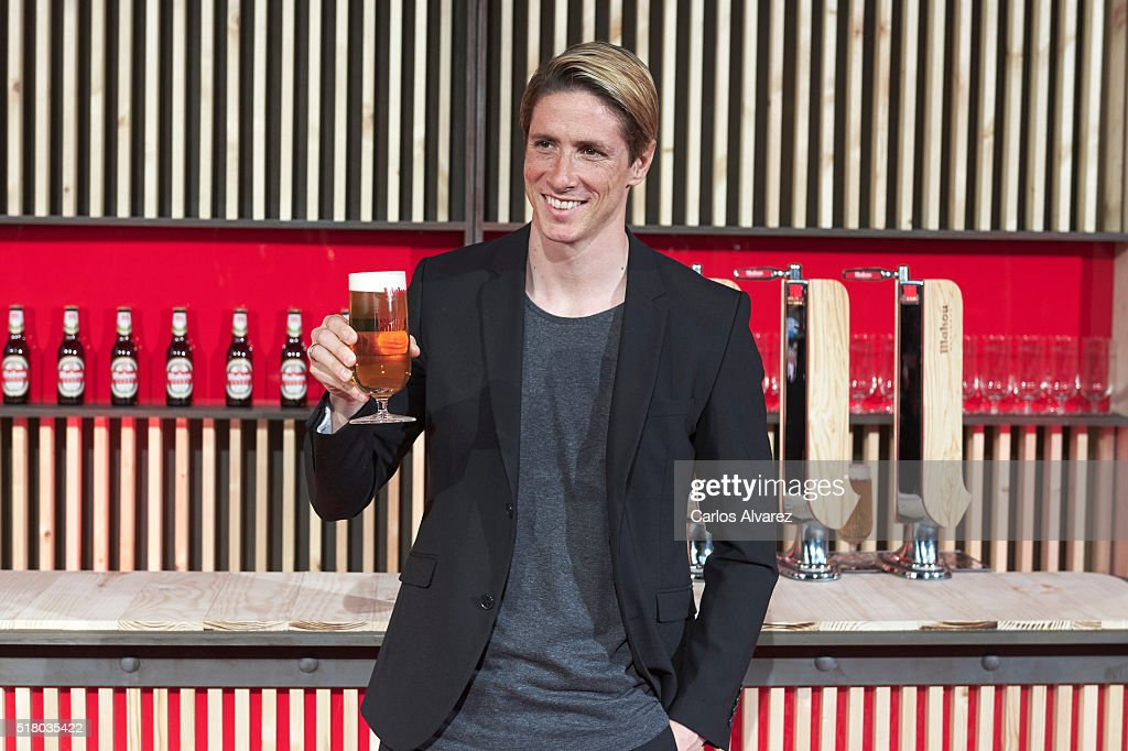 Futbol player Fernando Torres attends the Mahou Spot presentation at the Capitol cinema on March 29, 2016 in Madrid, Spain.