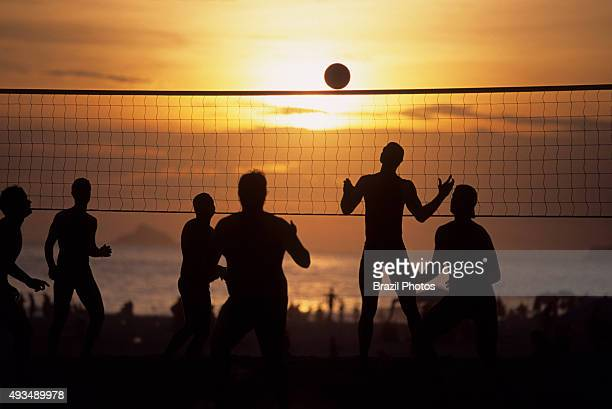 Futevolei the beach volleyball game played using only feet chest and head to hit the ball Ipanema beach Rio de Janeiro Brazil
